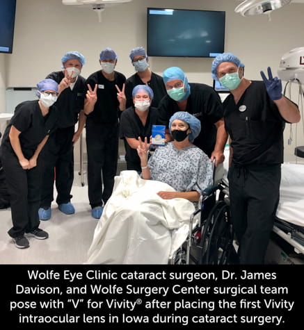 Wolfe Eye Clinic cataract surgeon, Dr. Davison, and patient after successful Iowa cataract surgery