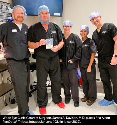 Iowa cataract surgeon, Dr. James Davison, implants first Alcon PanOptix Trifocal intraocular lens (IOL) in Iowa in 2019.